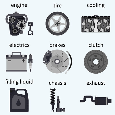 clutch: Set car parts. Automobile systems. car repairs.  Engine, wheel, piston, brake, battery, cooling, absorber, exhaust, radiator, suspension, candle, clutch. Vector illustration flat design.