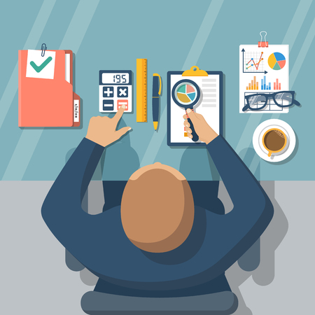 auditor: Auditing concepts. Auditor at table during examination of financial report. Tax process. Research, project management, planning, accounting, analysis, data. Vector illustration flat style. Illustration
