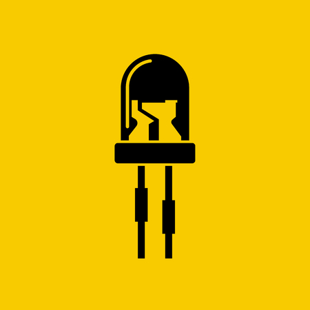 light emitting diode: Light-emitting diode isolated icon. LED black silhouette on yellow background. Vector illustration flat style design.