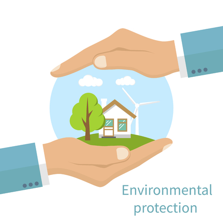hands holding tree: Environmental protection. Hands holding eco-friendly earth with house, tree and windmill. Protection ecology, concept. Vector illustration flat design style. Banner.