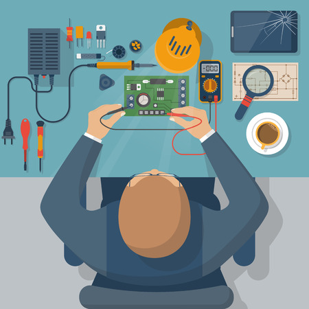Electronics repair. Tester checking. Multimeter in hands of man. Calibration, diagnostics, maintenance, electronics repair and computer equipment. Vector flat design style. Service center, workshop.
