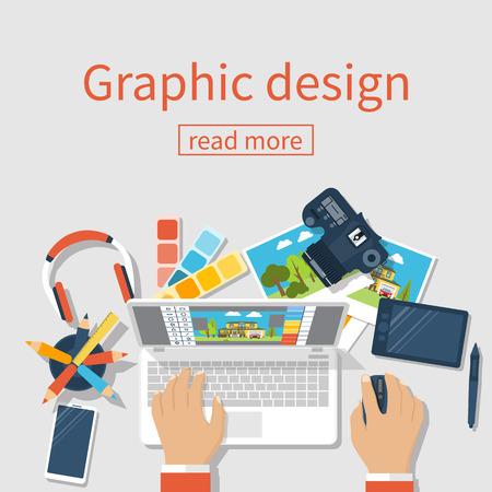 Concept of development of graphic design. Banner flat design style, vector illustration. Designer works with modern equipment digital devices at table. Software processing photo. Ilustração Vetorial