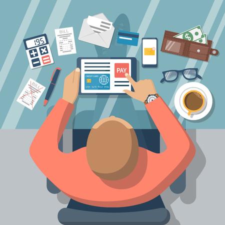 pay bills: Pay bills online. Online payment on internet concept. Flat design style vector illustration. Credit card, digital tablet, bill.  Man at desk with a tablet. Illustration