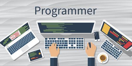 Programmer at computer desk working on program. Software concept. Vector illustration flat design. Man working at desktop computer, laptop. Coding, web technology. Development applications.