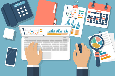 Working with financial papers. Accounting concept. Organization process, analytics, research, planning, report, market analysis. Flat style vector. Man at table with documents. Ilustração