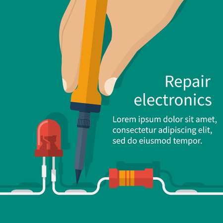 troubleshooting: Calibration, diagnostics, checking, maintenance, repair electronics, computer equipment. Abstract background banner template service center, workshop. Vector flat style. Engineer solder motherboard. Illustration