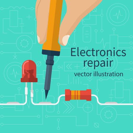 Electronics repair concept. Calibration, diagnostics, checking, maintenance, electronics, computer equipment. Service center, workshop banner, template. Soldering iron in hand man. Vector flat style.