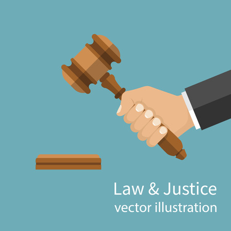Hand holding judges gavel. Vector illustration flat style design. Symbol of law and justice. Businessman in a suit holds an auction. Stock Illustratie
