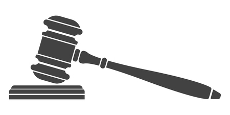 auctioneer: Judge gavel icon. Auction hammer. Isolated black silhouette on white background. Vector illustration of a flat design. Symbol law. Illustration