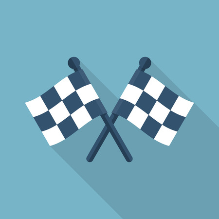 competitions: Racing flag icon flat style design. Isolated two checkered flag crosswise with a long shadow. Sport competitions. Sign of start and finish. Vector illustration.