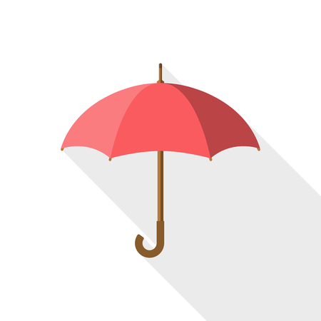 Umbrella icon vector, rain protection on white background isolated with long shadow. Flat design style. For web design, mobile applications, and printing. Vector illustration.