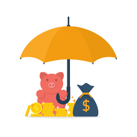 financial savings: Protection money concept. Safe and secure investment, insurance. Vector illustration flat design style. Piggy bank is holding an umbrella to protect gold coins. Financial savings, saving money.