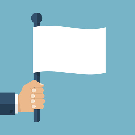 truce: Hand holding a white flag. Vector illustration of a flat design. Symbol give up.  Surrendering concept. Message truce.