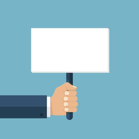 blank poster: Hand holding blank placard. Protest concept. Blank board advertising, ads, messages. Empty space for text. Vector illustration flat design.