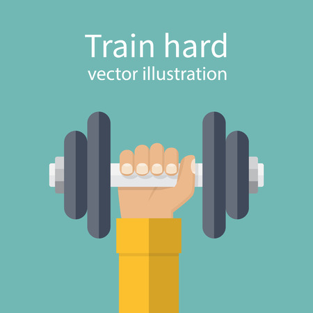 hand lifting weight: Hand of man holding a dumbbell. Vector illustration of a flat design. Weight lifting, train hard concept. Sports lifestyle.