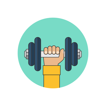 hand with dumbbell: Dumbbell in hand icon. Vector illustration of a flat design.
