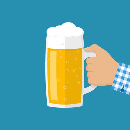 alcoholic drink: Glass of beer men holding in hand. Mug in hand isolated in flat style on background. Vector illustration. Light alcoholic drink, cool foam. Design elements for beer festival.