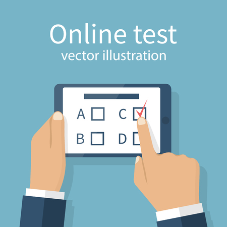 Man holding tablet in hands, takes part in online test. Touching finger to screen version of the questionnaire. Quiz on mobile device. Vector illustration flat design. Survey on Internet. E-education.