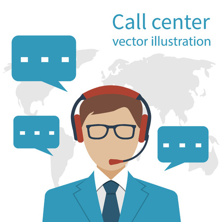 communicable: Operator call center on background of the world map. Communicable consultant with headset, customer service. Vector illustration flat style design.