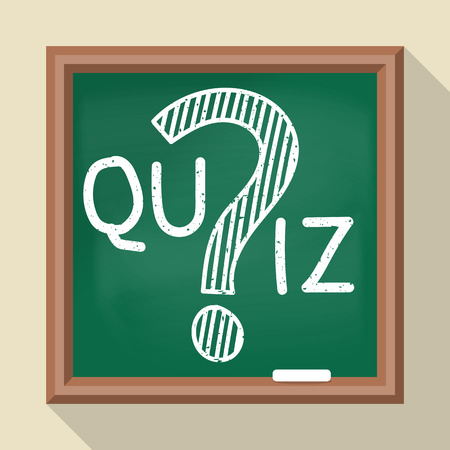 quiz test: Message on the quiz on the school board. Vector illustration of a flat design. Question mark drawn in chalk. Template for the test, examination, survey, contest. Illustration