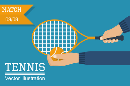 wimbledon: Tennis player holding a racket and ball, preparing to make an impact. Man playing a sports game. The poster, invitation for the match. Illustration