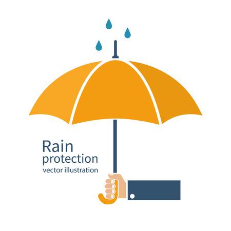 Hand of man holding an umbrella. Vector illustration flat style design. Rain protection. Illustration
