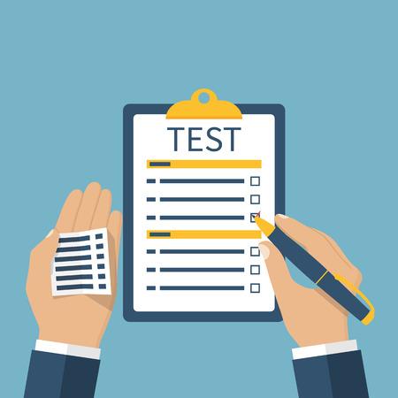 Mann auf der Prüfung getestet. Spickzettel in der Hand, auf dem Test zu betrügen. Unehrlich Student nutzt Spickzettel. Vektorgrafik