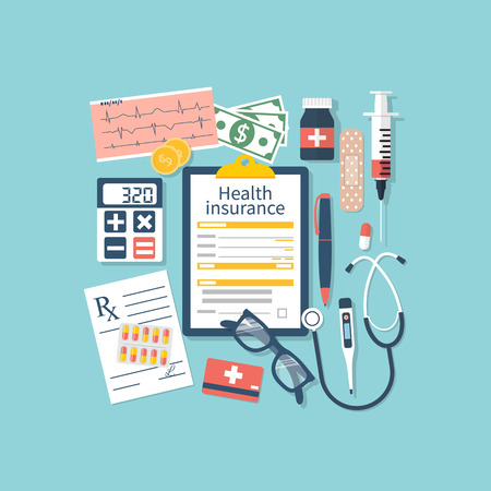 medications: Form of health insurance. Medical equipment, money, prescription medications. Healthcare concept. Vector illustration flat design style. Life planning. Claim form.