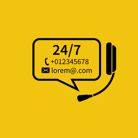 helpline: Customer service, concept. Headphones with microphone, bubble for text. Technical support online, call center. Abstract background vector illustration. Template for helpline, support service. Illustration
