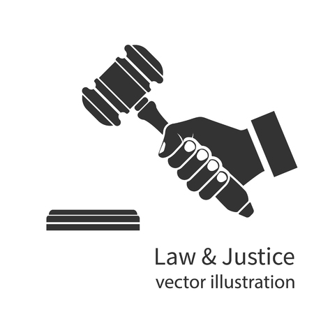 Hand Hammer Richter-Symbol halten. Isolierte schwarze Silhouette auf einem weißen Hintergrund. Vektor-Illustration flachen Stil Design. Symbol von Recht und Gerechtigkeit. Geschäftsmann in einem Anzug hält eine Auktion.