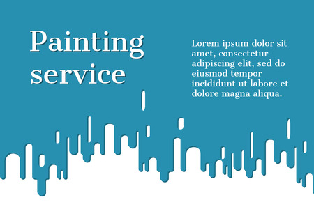 drippy: Paint drips. Abstract background with flowing down the paint on the wall. Vector illustration flat design. Banner, template for promotion. Service Paintwork. Illustration