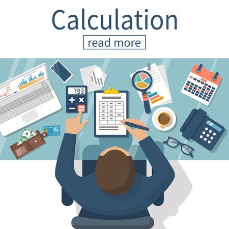 Berekening concept. Zakenman, accountant. Plat design, Vector Illustratie. Financiële berekeningen, het tellen van de winst, inkomen, belastingen, statistieken, data-analyse, planning, rapport. Vector Illustratie