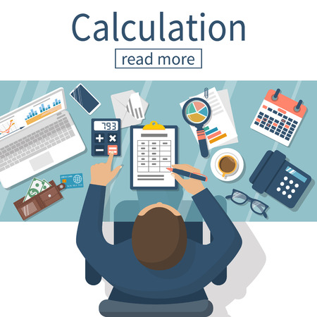 concepto de cálculo. Hombre de negocios, contador. Diseño plano, ilustración vectorial. Cálculos financieros, el beneficio de contar, ingresos, impuestos, estadísticas, análisis de datos, planificación, informe. Ilustración de vector