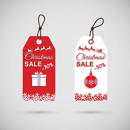 Christmas discounts. Christmas sales. Vector illustration flat design. Price tag. Big save, discounts. Santa Claus in a sleigh.