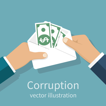bribery: Bribery concept. Money in an envelope in hands of businessmen during corruption deal. Vector illustration, flat design style. Corruption icon. Giving, receiving cash. Funding, donation, payday.