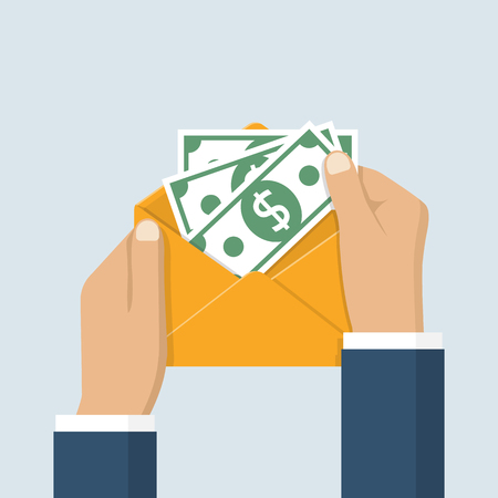 bribery: Hands businessman holding envelope with cash. American dollars. Open envelope with money. Vector illustration flat design. Finance concept of corruption and bribery.
