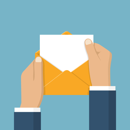 mailmen: Businessman opening an envelope with letter. Blank sheet paper for text template. Vector illustration flat design. Mail concept. Isolated hands open envelope. Sending message, notification, invitation Illustration