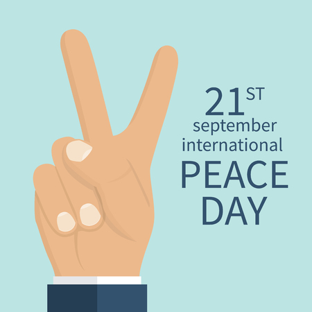 Peace Day, concept. September 21 International Day of Peace. Gesture of the hands, two fingers, symbol. Vector illustration flat design. Isolated hand on white background. Illustration
