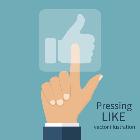sensory: Hand pressing Like button. Touch sensory panel with sign vote. Vector illustration flat design style.