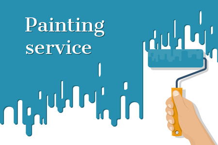 Man holding in hand roller, isolated on background painted red wall. Painting service. Artist paints. Flat style design vector illustration. Renovation concept.  イラスト・ベクター素材
