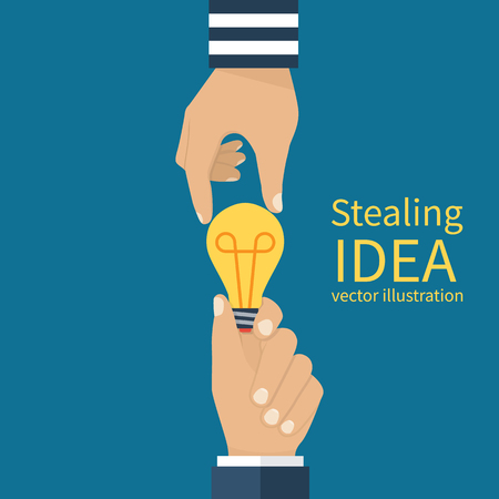 Concept of stealing ideas. Lamp in hands of man, thief steals an idea. Copyright compliance. Vector illustration flat design.