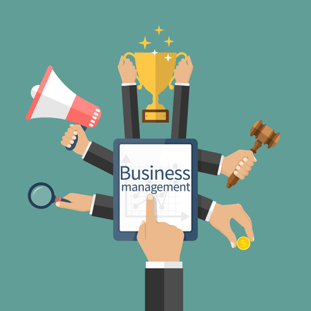 managing: Business management, concept. Businessman hand touching tablet screen managing online business. Decide, finding solutions, investment, successful businessman. Flat design style vector illustration.