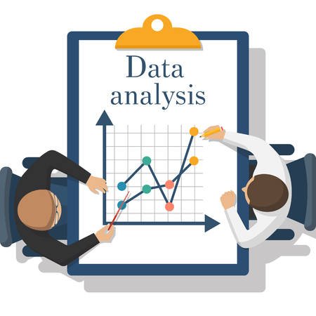 Abstract data analysis. Two businessman analyze charts, diagrams. Financial analysis, statistics, reporting, strategy development. Vector flat design. Data concept.