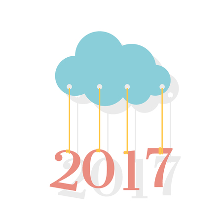2017 new year. Paper cloud keeps on rope digits 2017. New Year greeting card. Abstract background. Flat style. Vector  illustration. Design element for web, print.