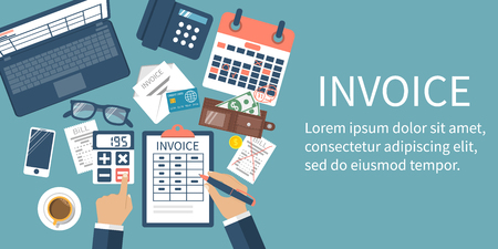 invoices: Invoice concept. Man at table, calculations on payment, bills, receipts, invoices. Flat design, abstract vector illustration. Accounting checking. Paperwork, calculation. Money counting. Web banner.