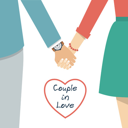 hand hold: Couple holding hands. Female and male hands together. Couple in love. Vector illustration flat design. Illustration