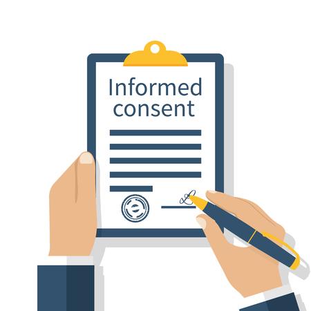 Hombre firma una forma de consentimiento de información. documento de negocios firma. Portapapeles en la mano. Ilustración vectorial de un diseño plano. Acuerdo médico.