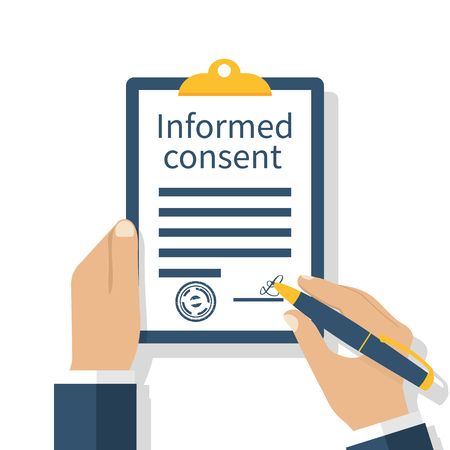 Man signs a form of information consent. Businessman signs document. Clipboard in hand. Vector illustration of a flat design. Medical agreement.
