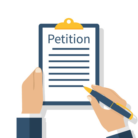 Petition concept. Businessman holding clipboard in hand writes petition. Isolated icon on white background. Vector illustration flat design.