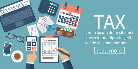 Tax payment. Data analysis, paperwork, financial research, report. Businessman calculation tax government, state. Calculation return. Flat design vector illustration. Form payment of debt.